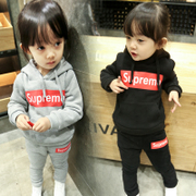 35 year old children's sports suit for girls winter 2017 new baby cashmere sweater 4 with two piece