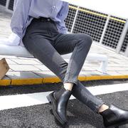 Jeans MIT Hoher Taille im frühling und Sommer 2017 Frauen im frühjahr Der neue jeans Grauer Rauch, füße hosen Schüler bleistift.