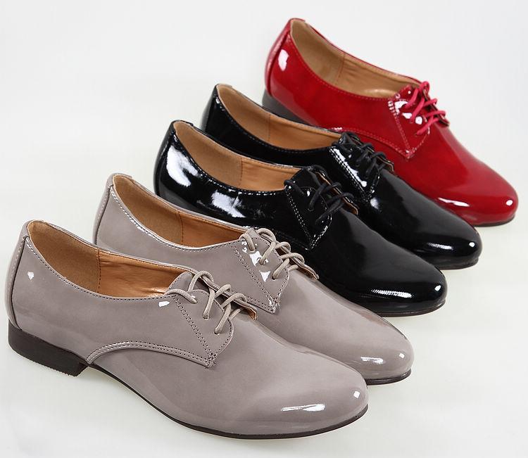 туфли 日本原单漆皮亮面英伦中性灰色黑色大红色系带牛津鞋爵士鞋单鞋