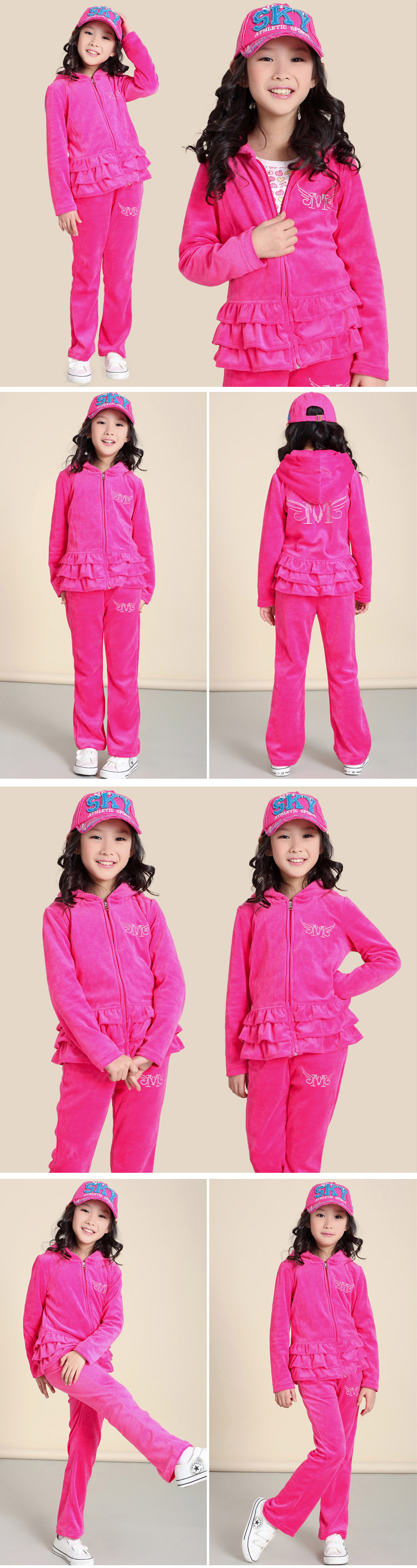 Baoyeah 2013 spring girls velvet set ruffles Cardigan sports set girls boys suits