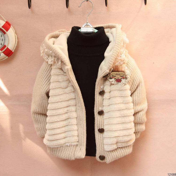 детский жакет для девочек носить пальто 2013 осень/зима трикотажные утолщенными и бархат девушка свитер шерстяной джемпер детей пальто на продажу