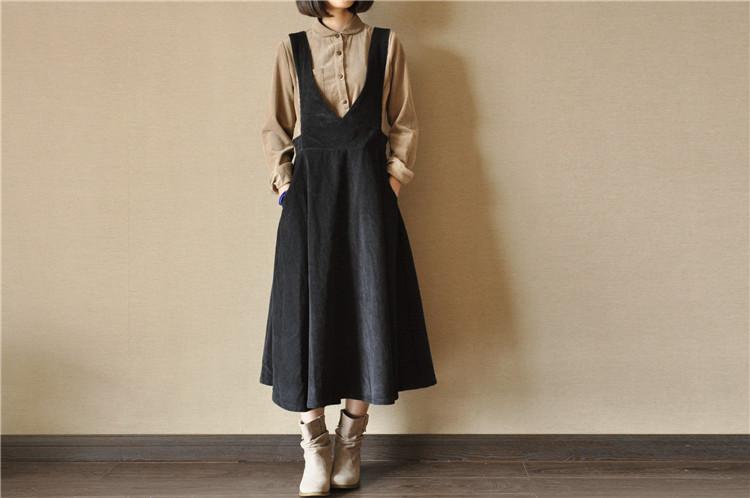 复古灯芯绒背带裙大摆裙