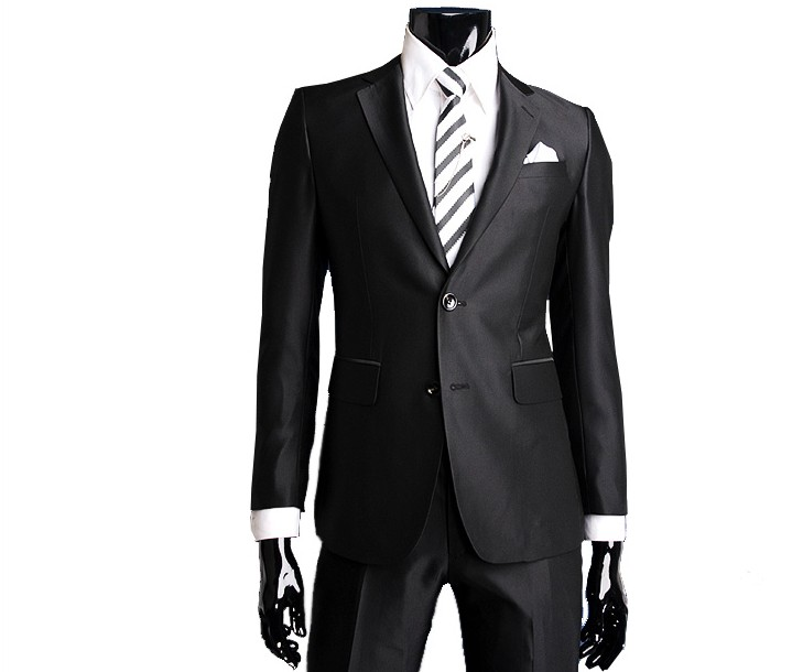Brand New A    Mens Black Shiny Business Suit/Groom Suit With Free