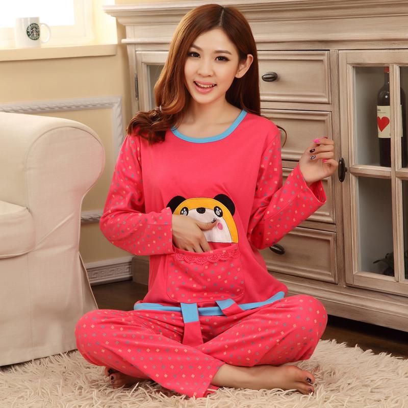 Пижама -Сезон Распродажа женские пижамы весной и осенью трикотажные хлопчатобумажные мультфильм женской одежды длинным рукавом Пижамы комплект пакет почты
