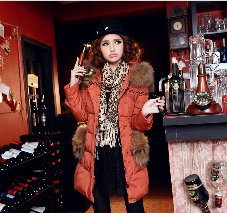 Женская утепленная куртка 13 взрыв популярности в роскошные дамы енот меховым воротником долго супер тонкий мягкий вниз пальто женщин