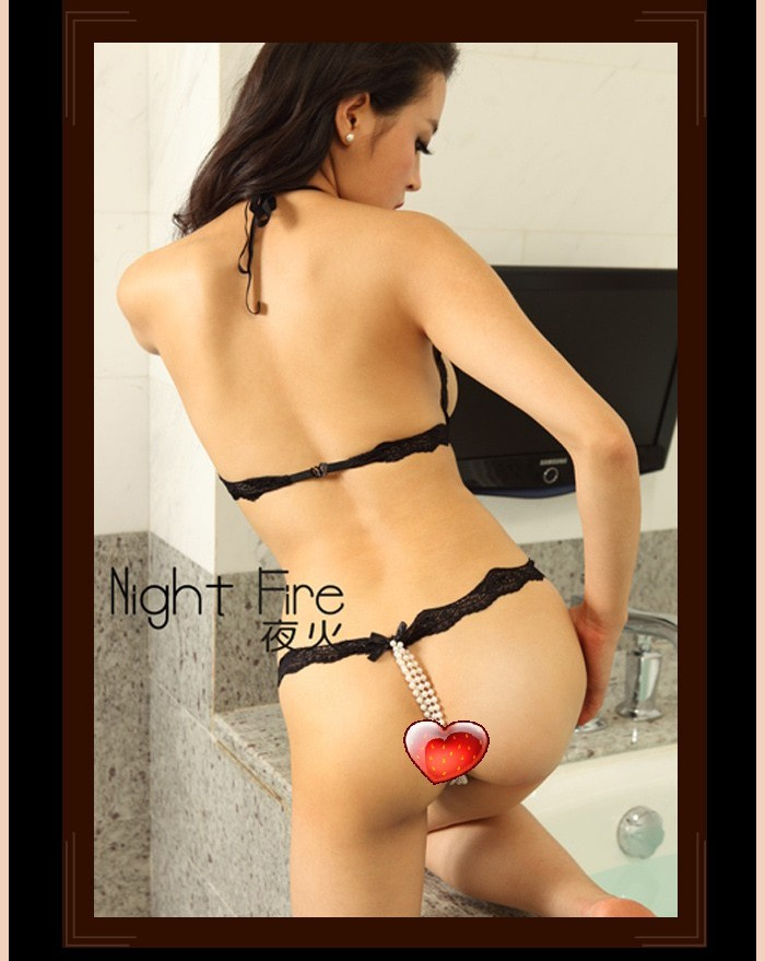 New night fire sexy lingerie chest a deep V halter open crotch open file leak milk temptations split three-set 335