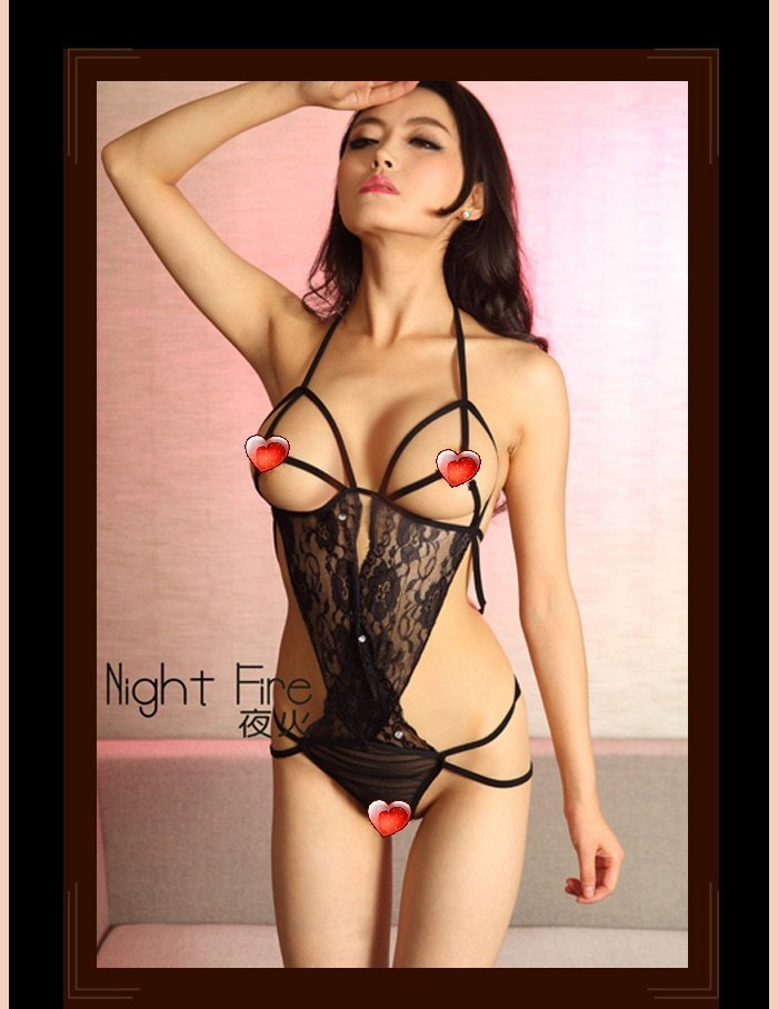New night fire sexy black lace sexy lingerie deep V halter bikini tight leotard 326 Temptation