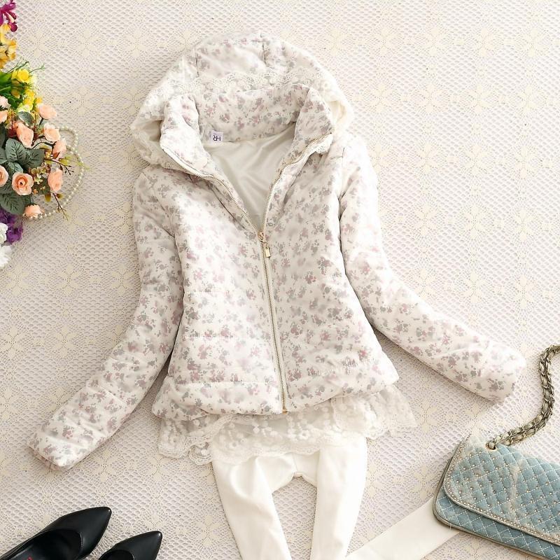 Женская утепленная куртка 2014 зима новых сладких снов мягкий обрезанное тонкие мягкие кружева Пальто Пальто с капюшоном костюмы