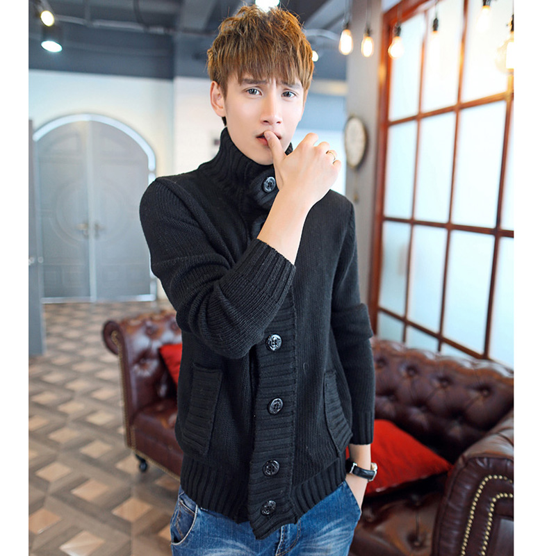 Rainy season lightly turtleneck sweater cardigan male models fall and winter clothes men's winter coat thick sweater