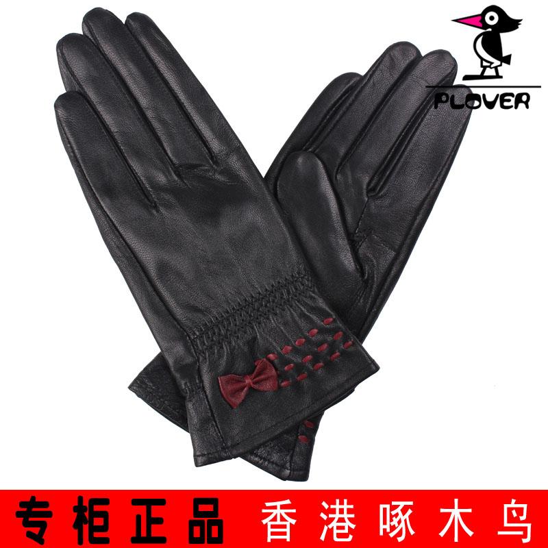 Перчатки Дятел счетчики аутентичные Гонконг женские кожаные перчатки тонкие женщины овчины перчатки теплые перчатки