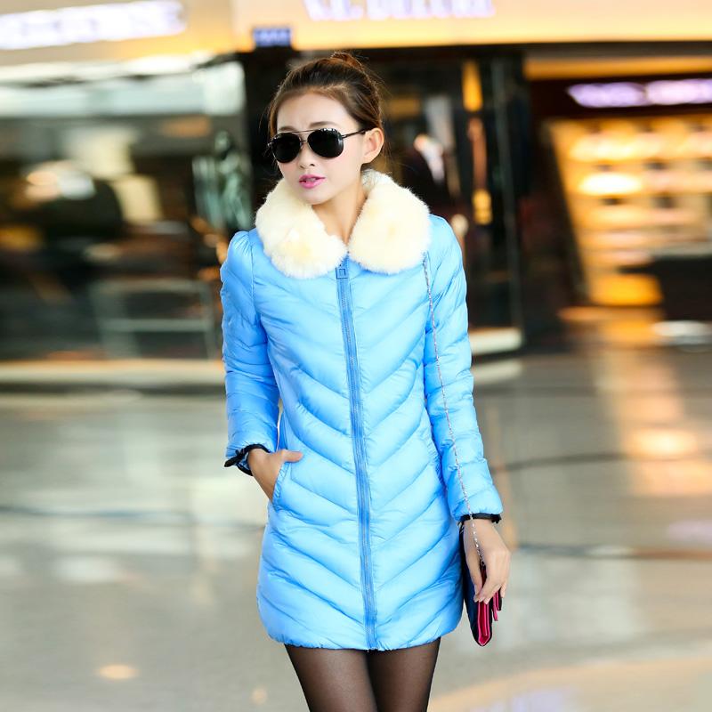 Женский пуховик 2013 новые зимние пальто в конфеты цветные дамы длинный пуховик куртка стильный темперамент шерсть хлопок тонкий одежда