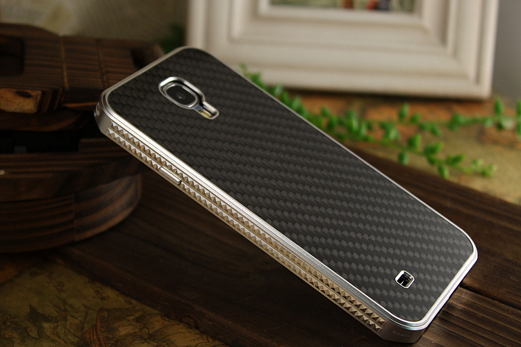 iMatch Luxury Aluminum Metal Bumper Carbon Fiber Back Cover Case for Samsung Galaxy S4 i9500