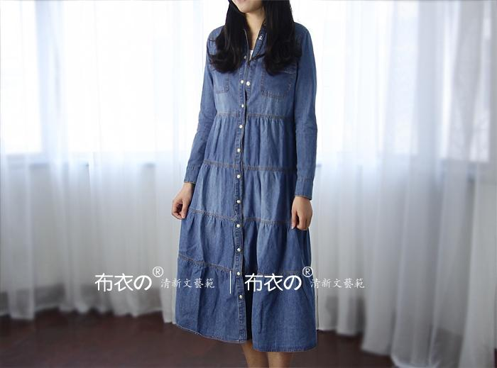 2013 spring new small wind long long sleeve denim dress in literature and art in Europe and fresh shirts dress L024-1