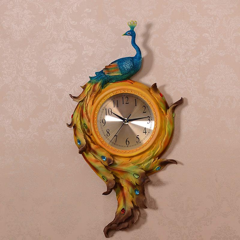 Настенные часы Европейская мода смола Павлин будильник творческие украшения для дома большие часы переехал в гостиной подарки