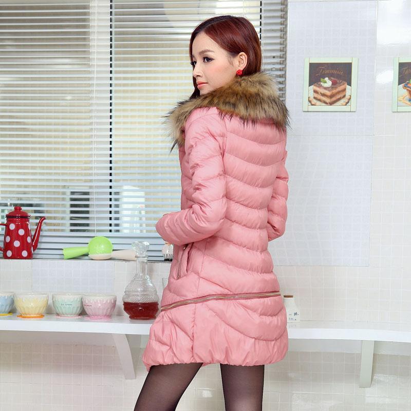 Женская утепленная куртка 2013 корейской версии Шея Длинные шерстяные пальто утолщенной новый зимний хлопок длинные вниз пальто женщин специальные предложения