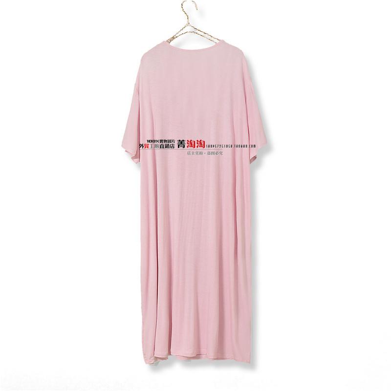 Ночная рубашка Лето, старый и толстый для увеличения женщин ночная рубашка модель юбка тонкий короткий рукав круглый шеи пуловеры дома мм жира беременная женщина