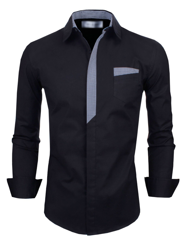 2015 new fashion men 39 s long sleeve slim fit dress casual for Tom s ware mens premium casual inner contrast dress shirt