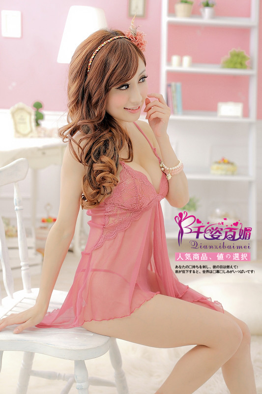 Veegol-HG Classic Lace Solid Braces Women Sleepwear Dress