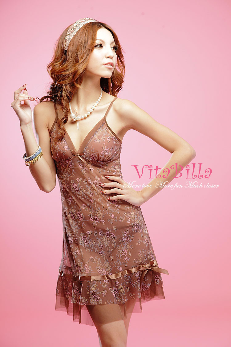 Veegol-HG Printing Lace Temptation Economic Women Sexy Perspective Pajamas