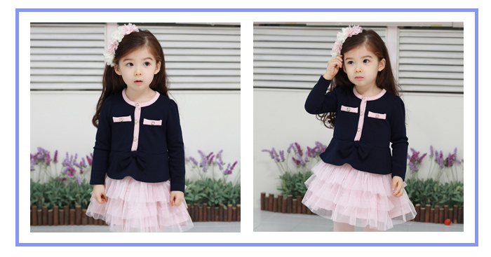 Korean children's clothes and romantic Angel Pocket long sleeves Princess skirt dress girls 2013 spring season boys dress