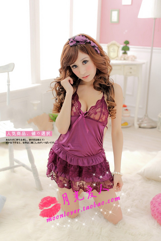That night Night fire sexy sleepwear sexy lingerie uniform temptation lace halter strap dress skirt maid split 5106