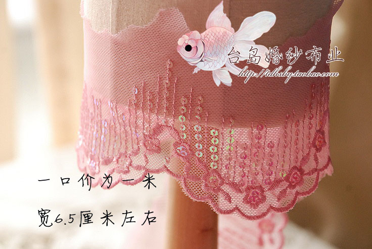 Toi cloth industry trade DIY handmade accessories embroidered lace 6.5CM Width / 704 / ivory white sequins