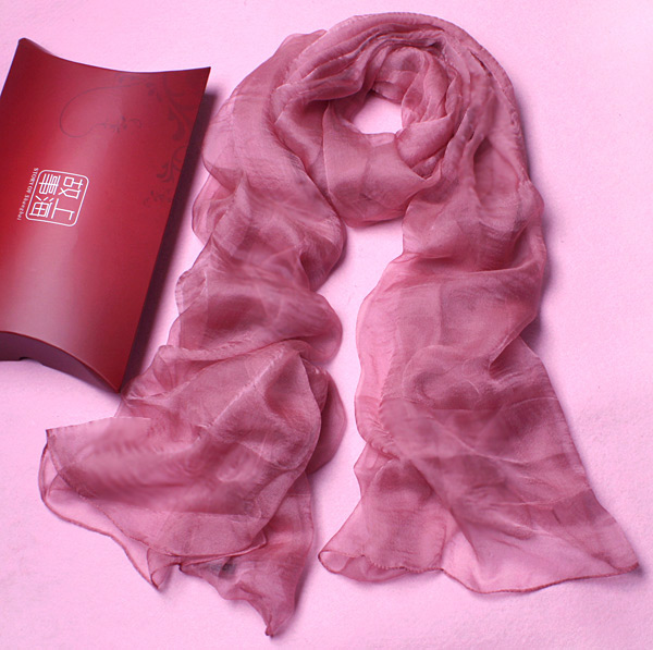 pure rubber red colour thin real silk scarf