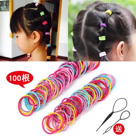 儿童头绳发圈发饰女孩扎头发橡皮筋彩色发绳头饰不伤发约100根