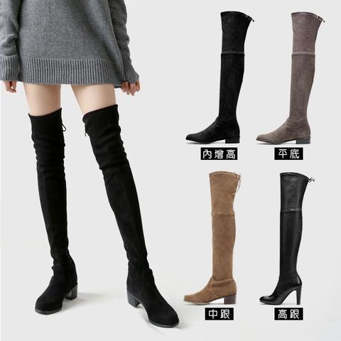 加绒系带过膝靴中跟瘦腿弹力靴内增高长筒靴黑色麂皮高筒女长靴子