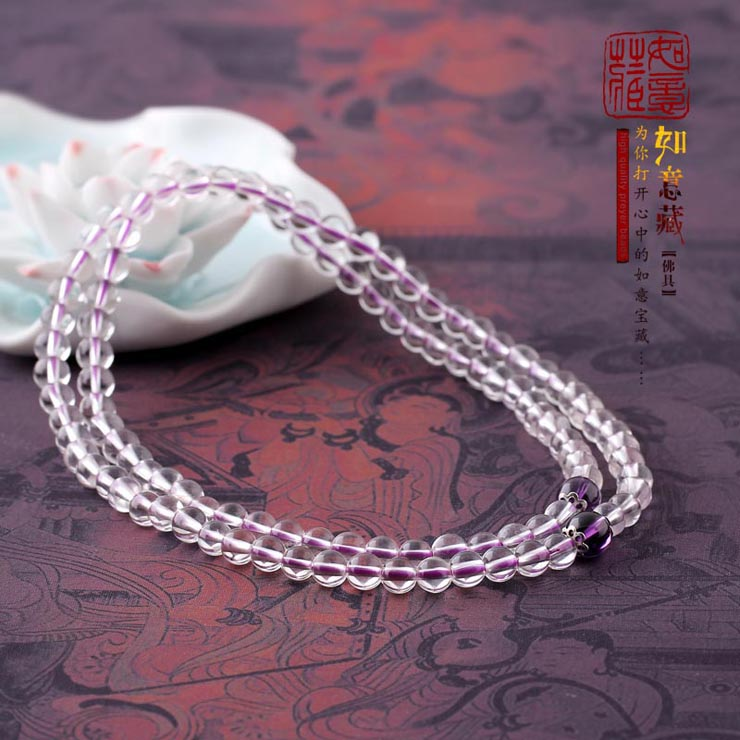 Wishful reservoir Pure natural white crystal 108 stars rosary bracelet exquisite necklace female models 6mm evil jewelry HL5