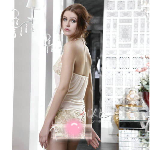 Ibzan Gauze Tube Top Embroidered Nightgown Women Sexy Dress