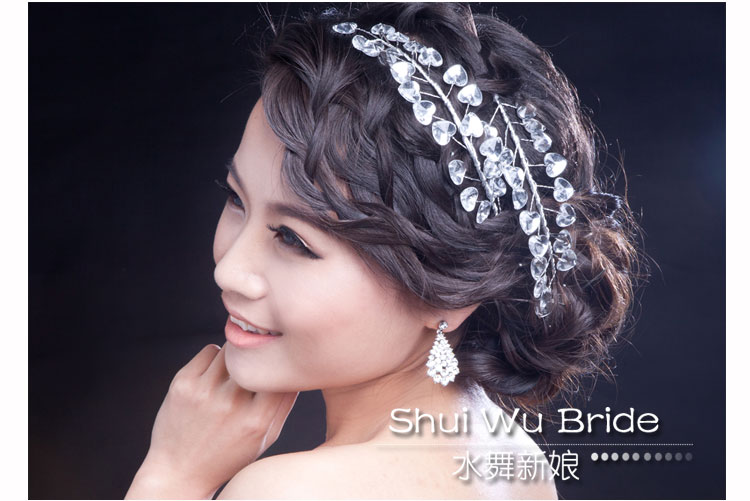 ShuiWu Bride Beautiful Alloy Crystal Heart-shaped Bridal Wedding Headbands 2 Pieces Per Lot