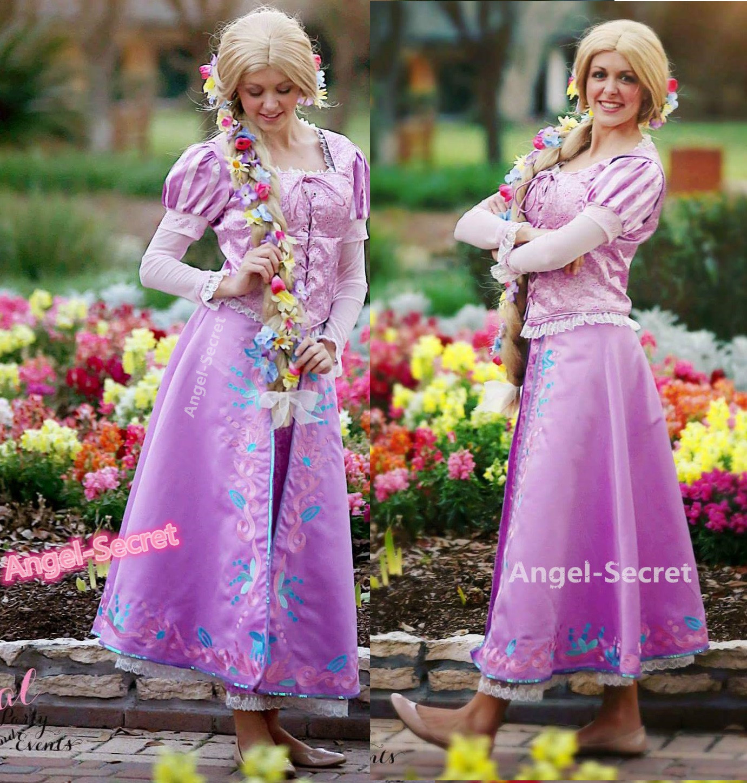 ffsdf  sc 1 st  angel-secret & P144 Tangled Rapunzel Cosplay Costume women Princess dress ...