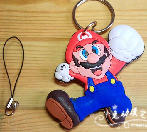 Super Mario Cartoon Soft Rubber Cellphone Key Chain