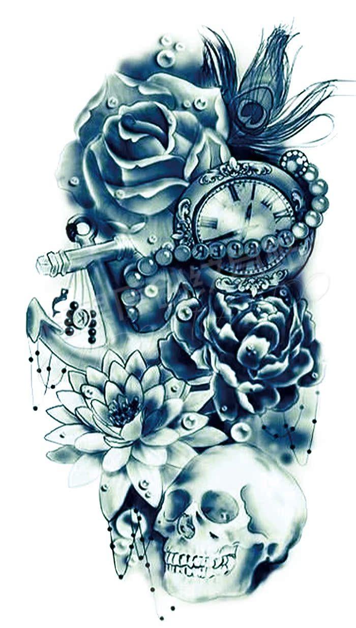 新品骷髅莲花玫瑰铁锚孔雀翎纹身贴 欧美风格