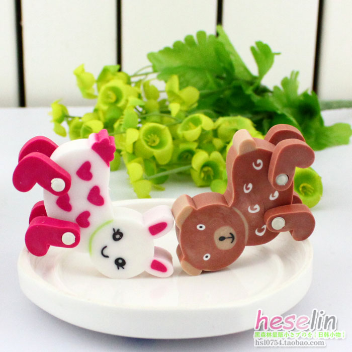 DeLi Cartoon Animals Removable Erasers Soft Erasers Corrections 4pcs D28