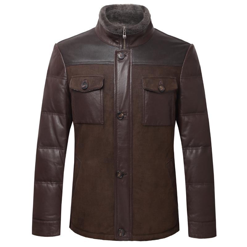 男士秋冬大气羊羔毛绵羊皮修身深棕色皮衣