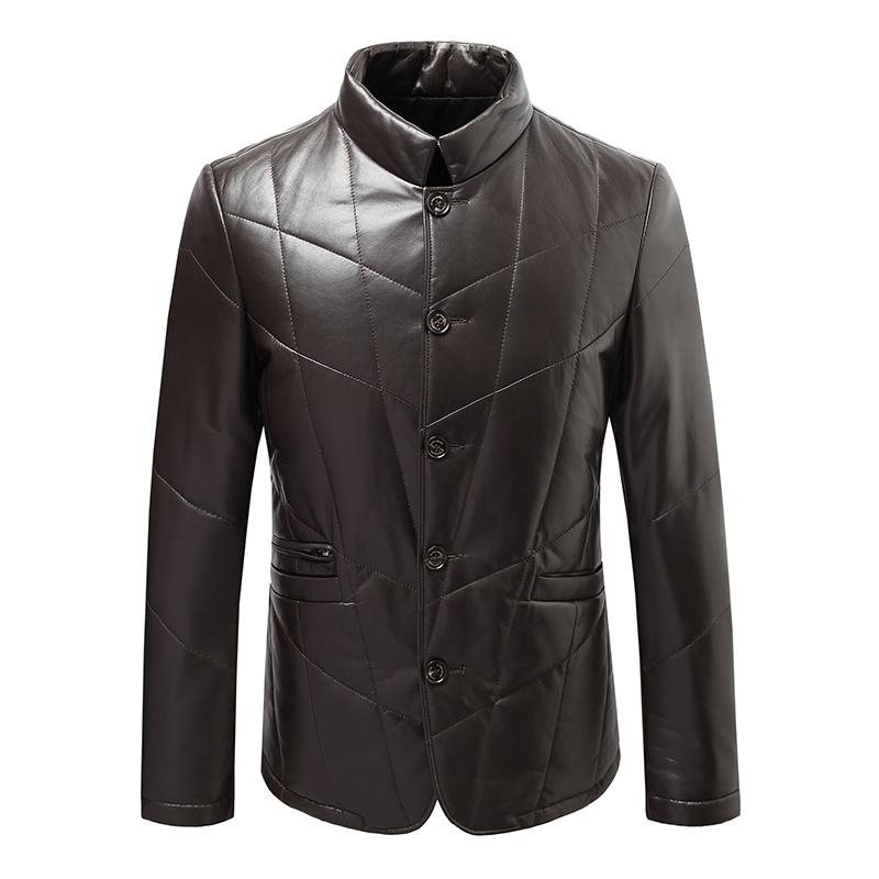 男式短款真皮皮衣 男士加棉款外套 绵羊皮立领男装