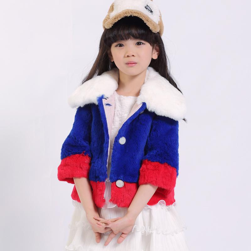 冬季新款皮草 潮韩版女童皮草 保暖纯色獭兔毛领时尚外套