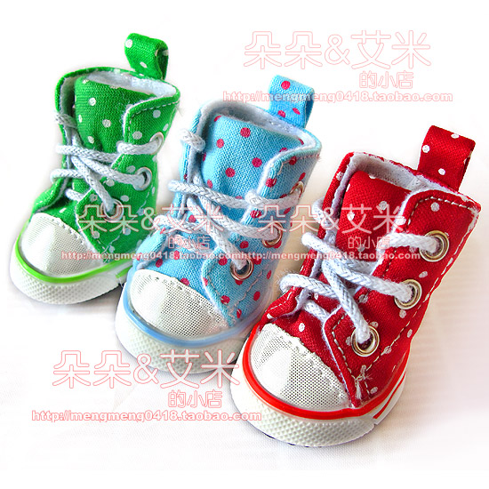 Blossoming Three dogs Free Shipping Polka Dot dot canvas shoes, sports shoes, pet shoes, dog Teddy Schnauzer