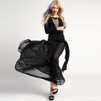 M-28 fashion black in high waist vintage transparent chiffon ultra long bust skirt bust skirt