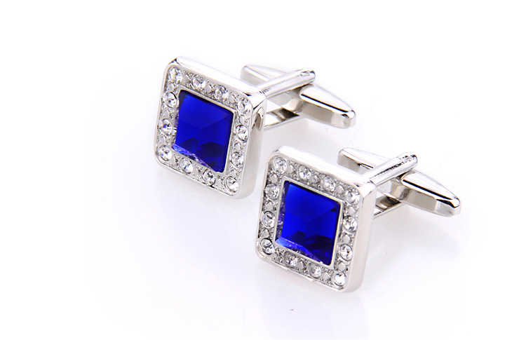 Keffer Springs Blue Crystal Square French cuff shirt cufflinks cuff nail special diamond men