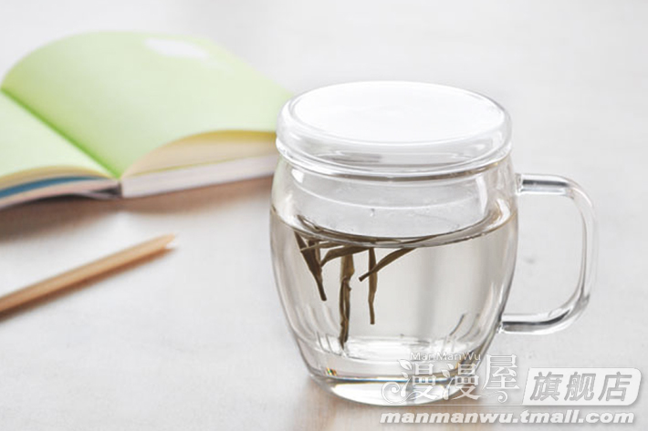Manman Long glass Tea Cup with lid by hand in the early morning heat-resistant glass three piece Cup 450ml