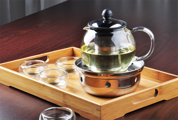 Manman Long House special heat-resistant glass tea pot inside the stainless steel filter glass health pot flower teapot