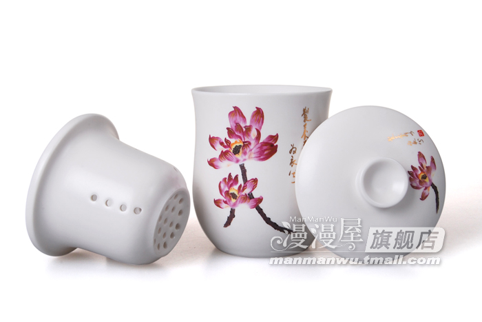 Manman Long house creative ceramic Cup filter tank Office mug Tea Cup with lid set special offer