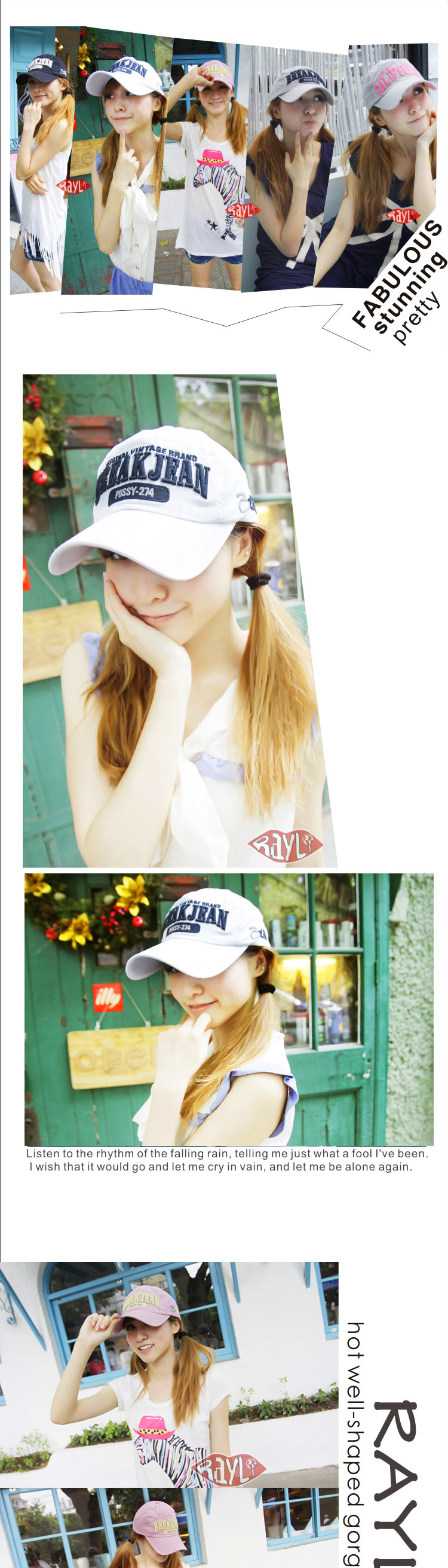 Rayli RAYLI summer of Korean men and women BREAK Cap Baseball Cap Hat fashionable genuine temperament K1017