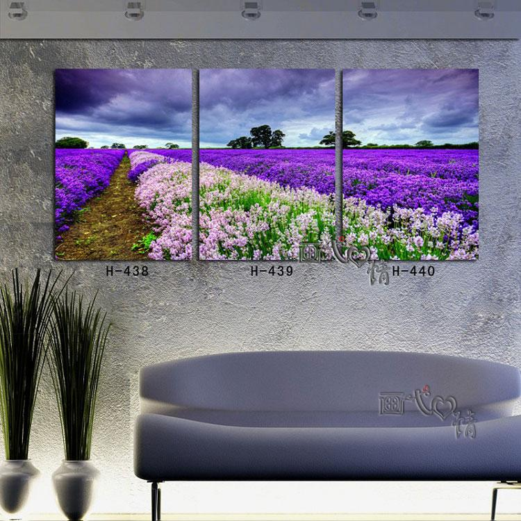 Wang painting Love Provence lavender flowers home decorative painting frame painting decorative painting modern living room triple