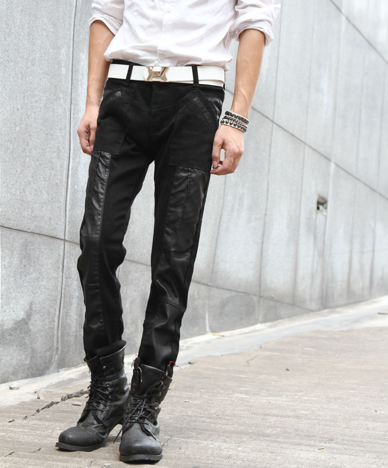 Slim Casual Fashion Breathable Leather & Denim Jointing Men Pants
