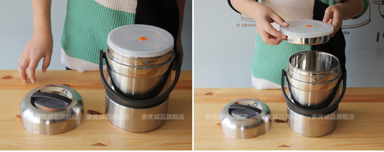 Eslite stainless steel vacuum insulated lunch box multi-layer insulation barrel insulation box seal lunch box bag-mail