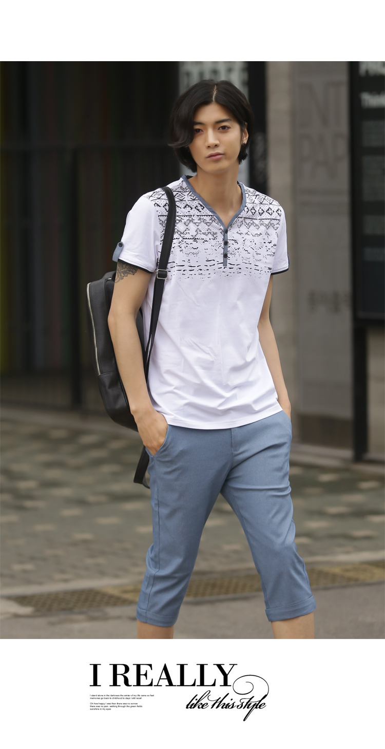 Summer Casual Cotton Linen Men Slim Version Of The Influx Capri Pants